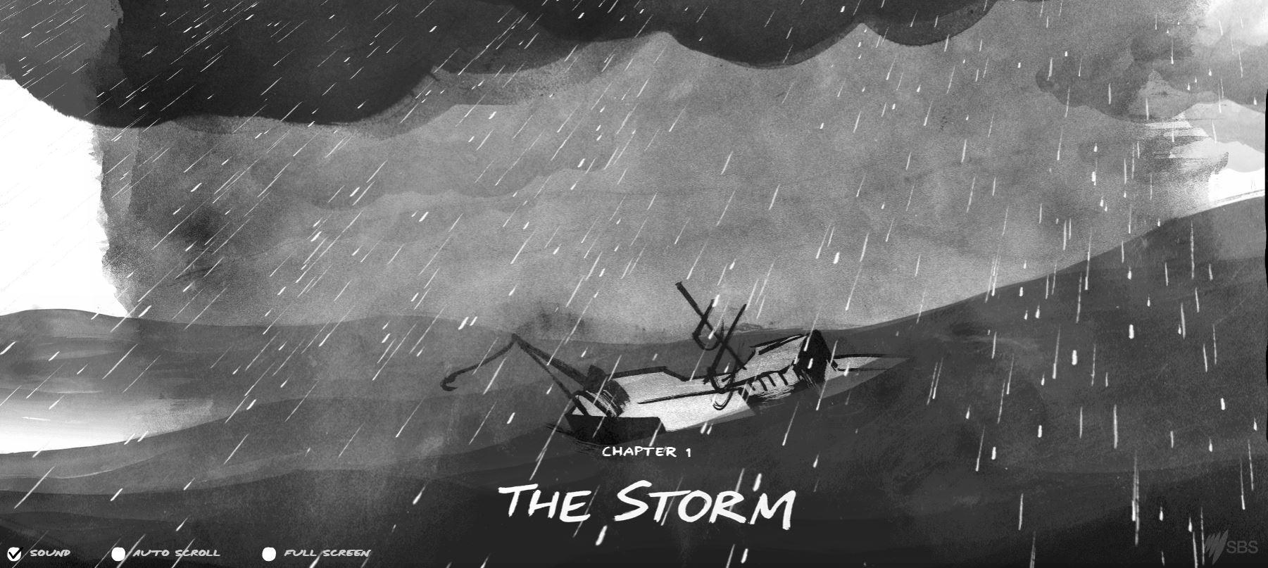Корабль попал в шторм