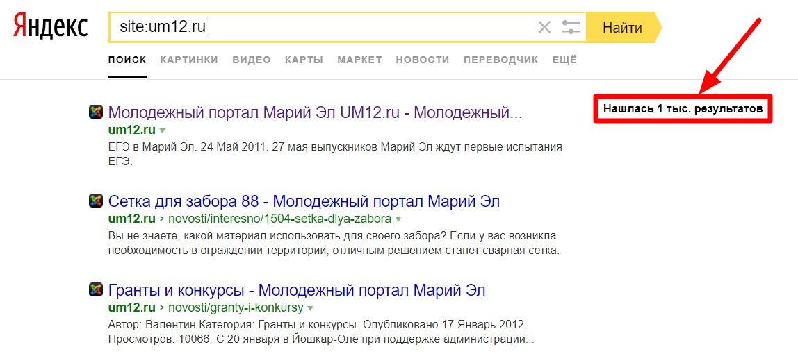 """Пишем """"site:домен"""" и запоминаем количество результатов в яндексе"""